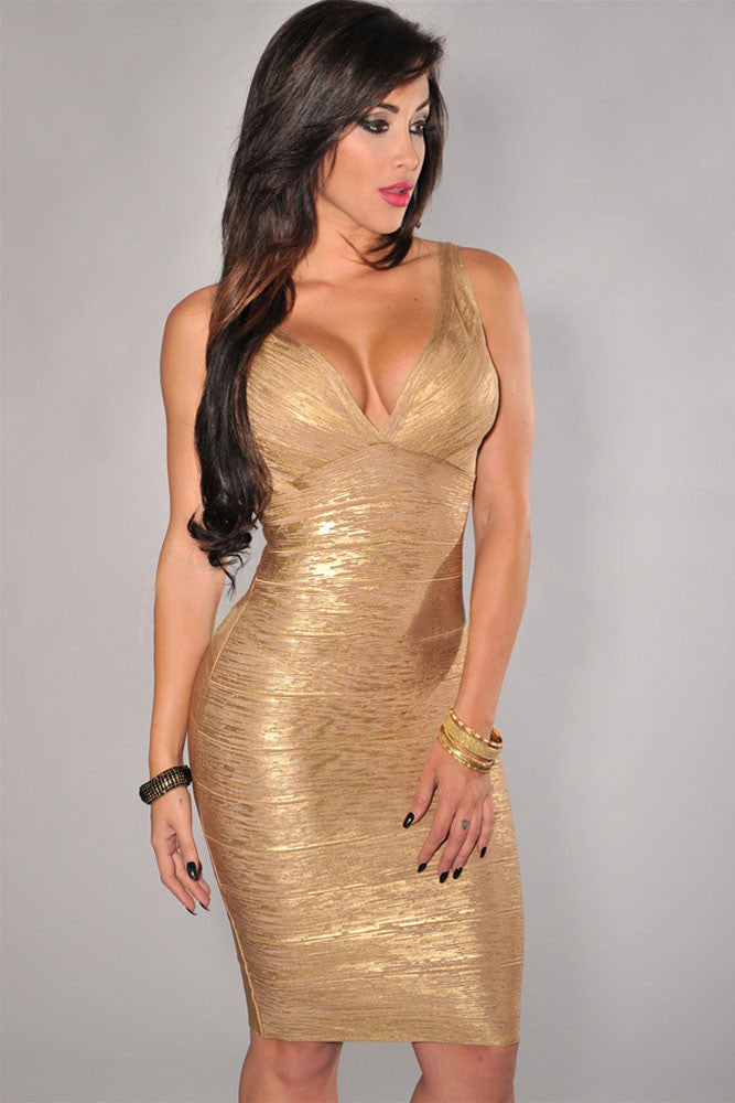 Gold V-Neck Foil Print Bodycon Bandage Dress - Pendants and Charms