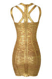 Gold Foil Printed Sleeveless Bodycon Bandage Dress - Pendants and Charms