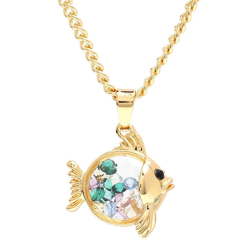 Gold Plated Fish Shaped Glass Charms Pendant Necklace - Pendants and Charms