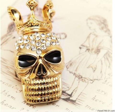 Stunning sparkly gold tone skull pin - Pendants and Charms