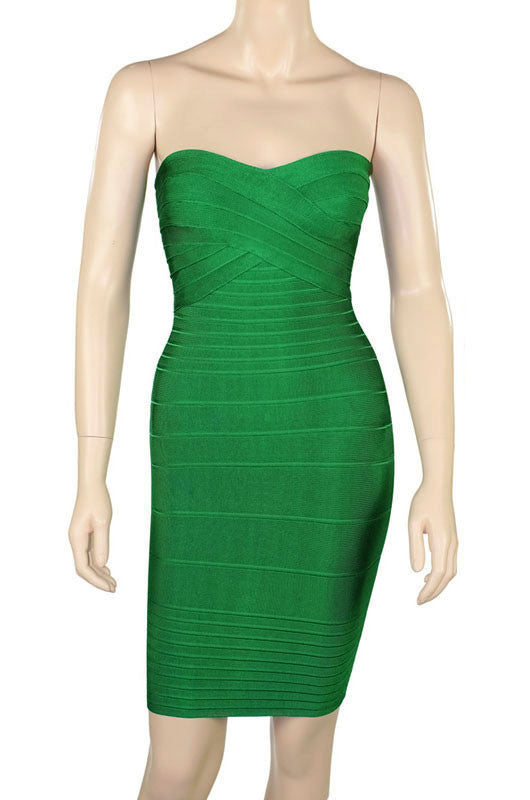 Green Strapless Bodycon Bandage Dress - Pendants and Charms