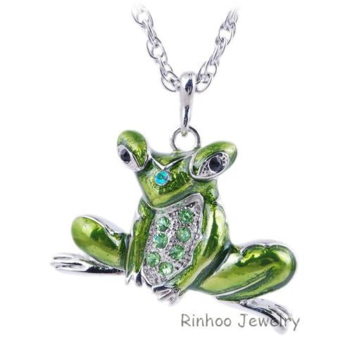 Green fashion  enamel  frog Charms Necklace Chain Long Pendant Necklace - Pendants and Charms