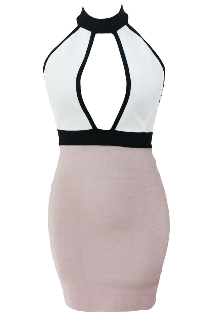Nude White keyhole Bodycon Bandage Dress - Pendants and Charms
