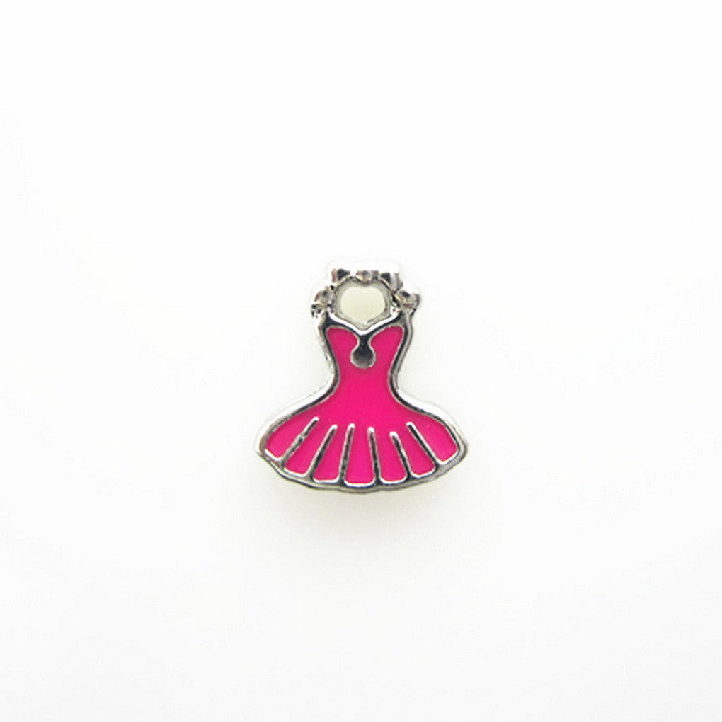 Floating charms Pink Dress 5 Birthstones locket Charm Bracelets necklace - Pendants and Charms