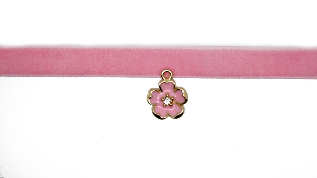 Velvet Choker Rockabilly Goth Choker Necklace with Pink Flower Charm Pendant - Pendants and Charms