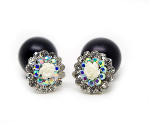 Black and AB white Rhinestones Flower Celebrity Runway Double Pearl Beads Plug Earrings Ear Studs - Pendants and Charms