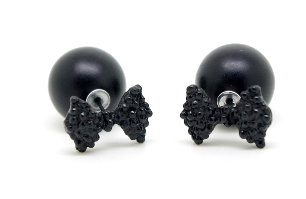 Black Bow  Celebrity Runway Double Pearl Beads Plug Earrings Ear Studs - Pendants and Charms