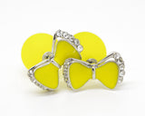 Yellow Bow and Ball Celebrity Runway Double Pearl Beads Plug Earrings Ear Studs - Pendants and Charms