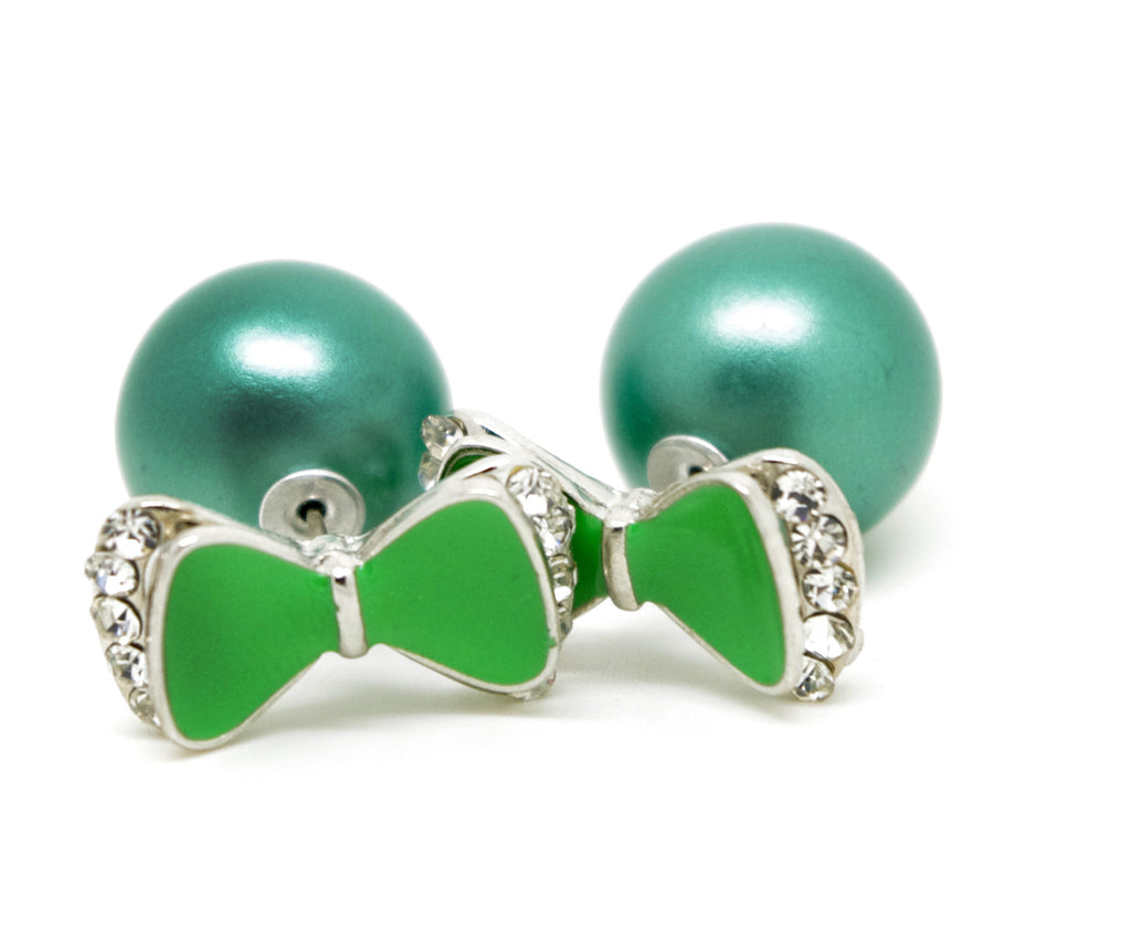 Green Bow and Ball Celebrity Runway Double Pearl Beads Plug Earrings Ear Studs - Pendants and Charms
