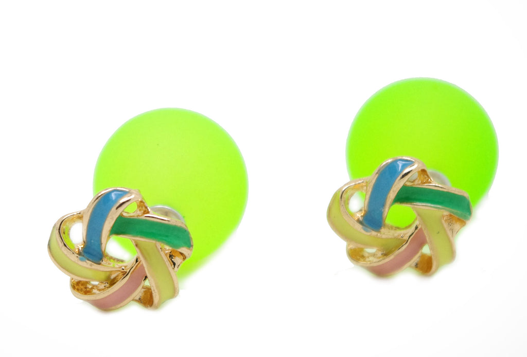 Twisted Ring and Green Ball Celebrity Runway Double Pearl Beads Plug Earrings Ear Studs - Pendants and Charms