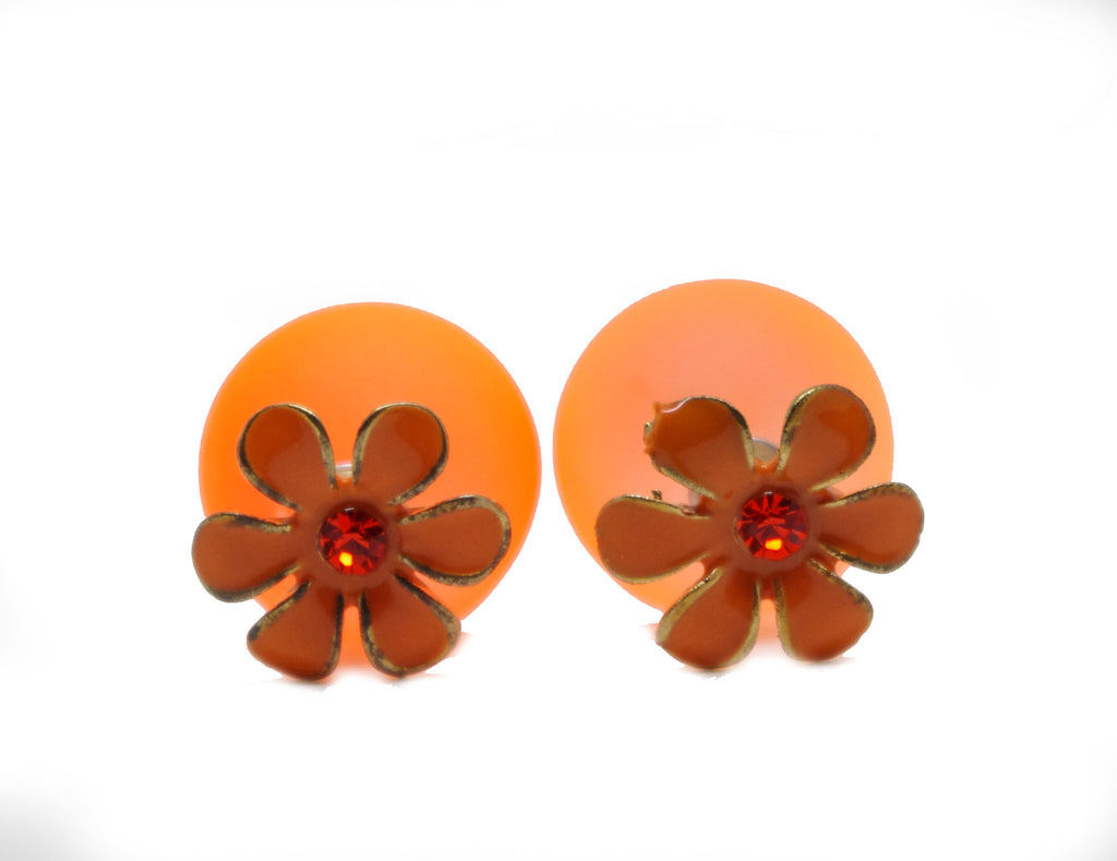 Orange Rhinestone Flower and Ball Celebrity Runway Double Pearl Beads Plug Earrings Ear Studs - Pendants and Charms