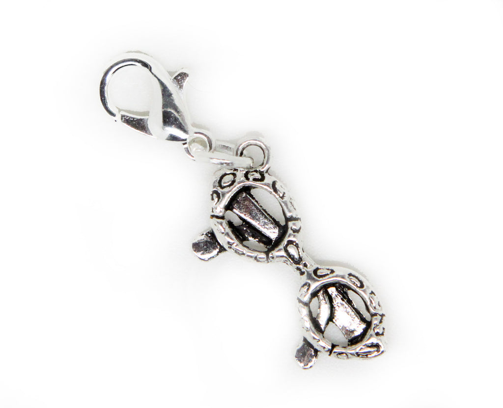 Frames old Silver Charm Clip on Bead for Charm Bracelets Charms necklace floating charms - Pendants and Charms
