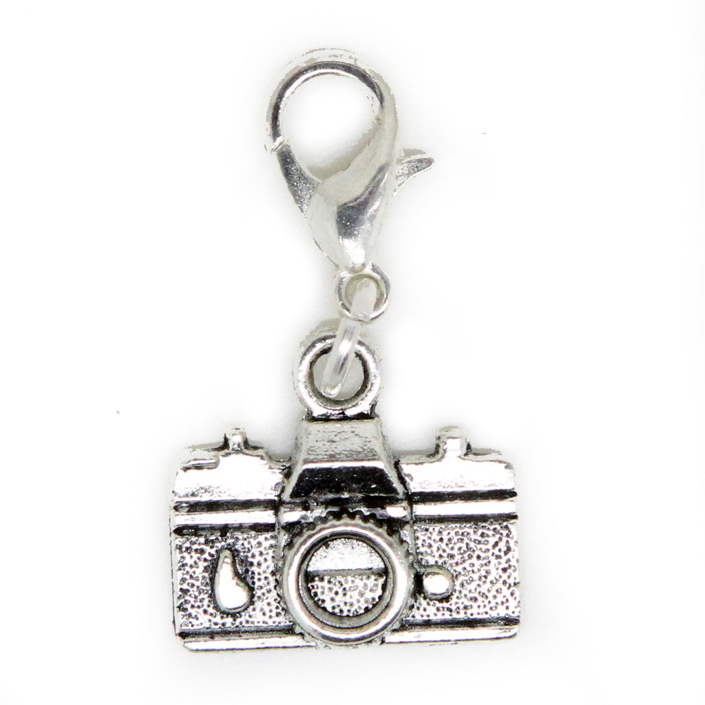 Camera old Silver Charm Clip on Bead for Charm Bracelets Charms necklace floating charms - Pendants and Charms