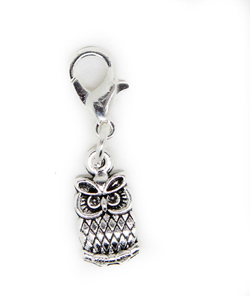 Small Owl Old Silver Charm Clip on Bead for Charm Bracelets Charms necklace floating charms - Pendants and Charms
