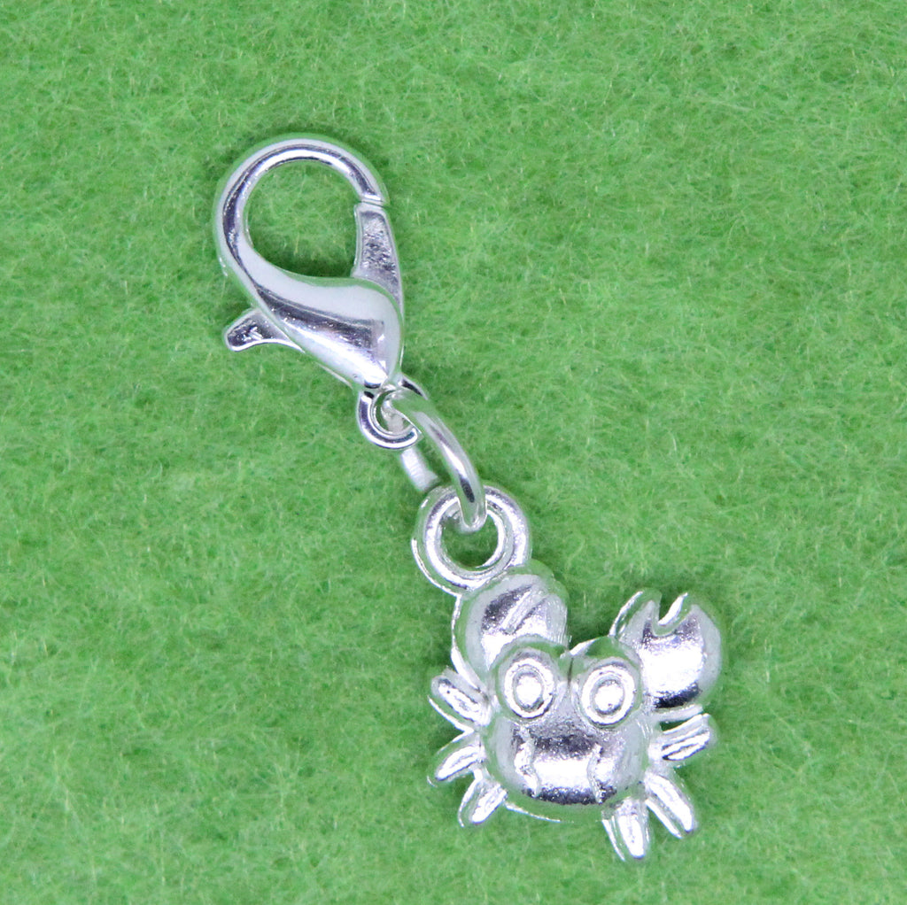 Silver Plated Crab Charm Clip on Bead for Charm Bracelets Charms necklace floating charms - Pendants and Charms