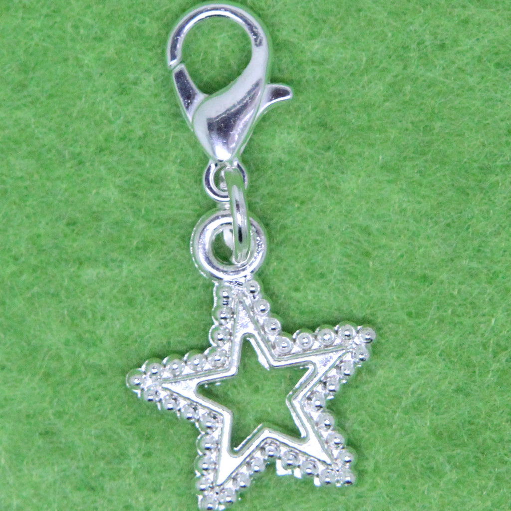 Silver Plated Star Charm Clip on Bead for Charm Bracelets Charms necklace floating charms - Pendants and Charms