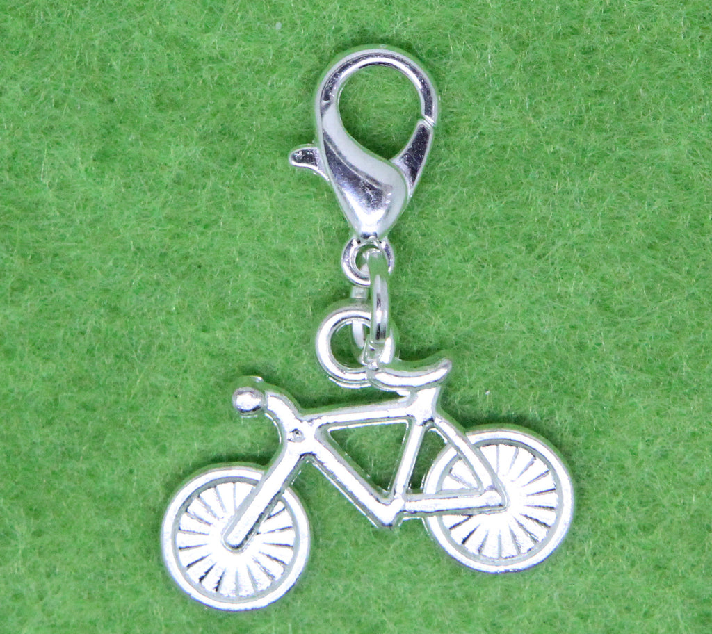 Silver Plated Bicycle Charm Clip on Bead for Charm Bracelets Charms necklace floating charms - Pendants and Charms