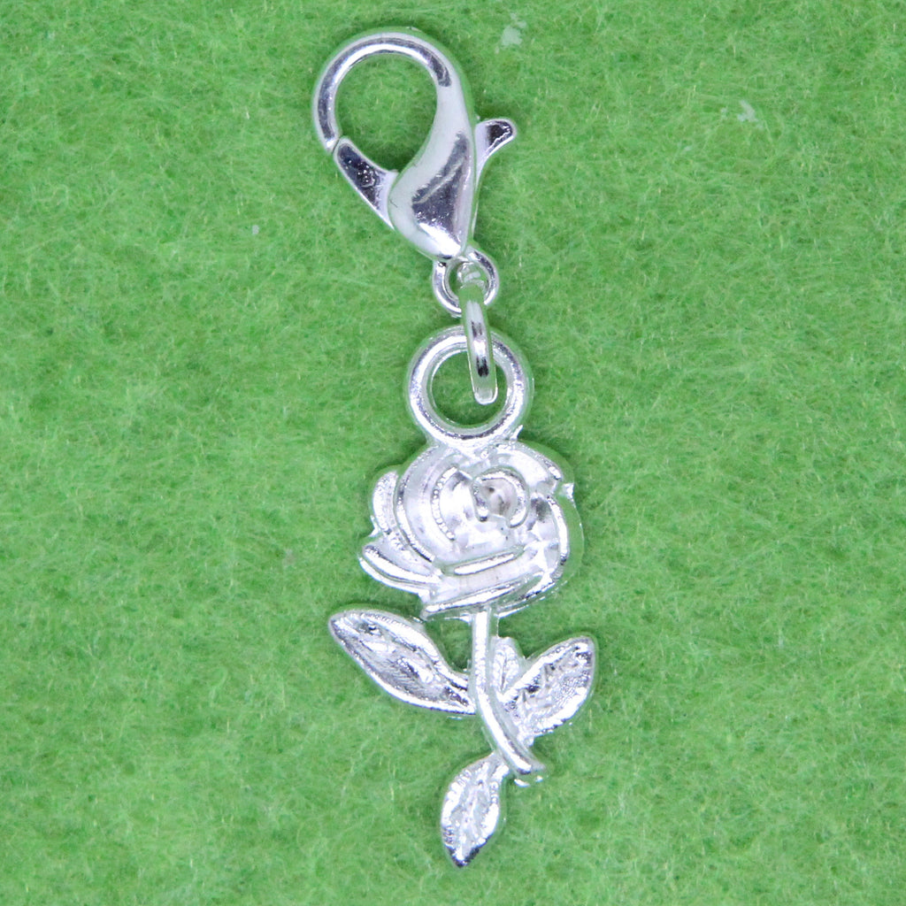 Silver Plated  Rose Flower Charm Clip on Bead for Charm Bracelets Charms necklace floating charms - Pendants and Charms