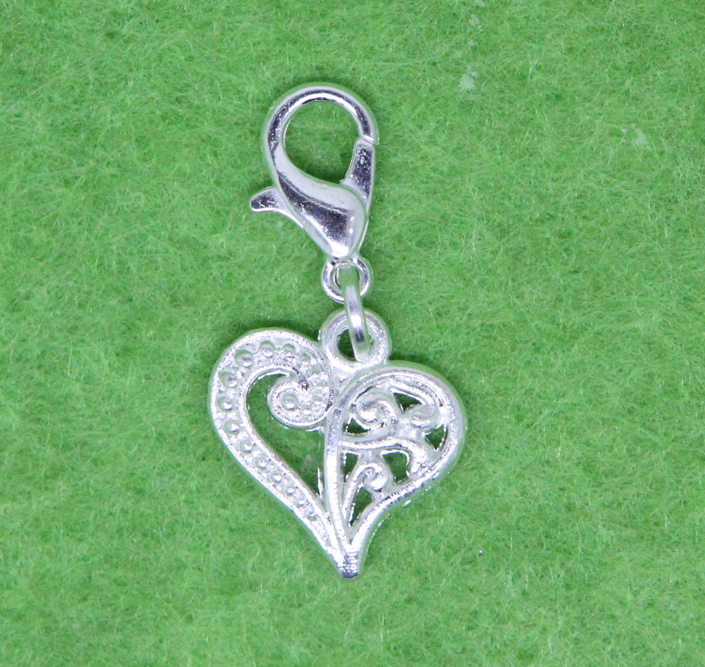 Silver Plated Heart Charm Clip on Bead for Charm Bracelets Charms necklace floating charms - Pendants and Charms