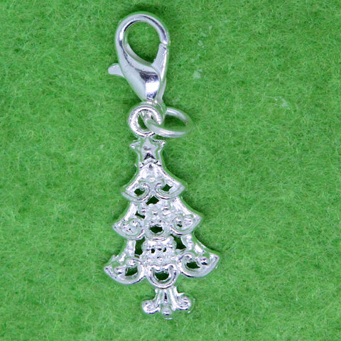 Christmas Tree Silver Plated Charm Clip on Bead for Charm Bracelets Charms necklace floating charms - Pendants and Charms