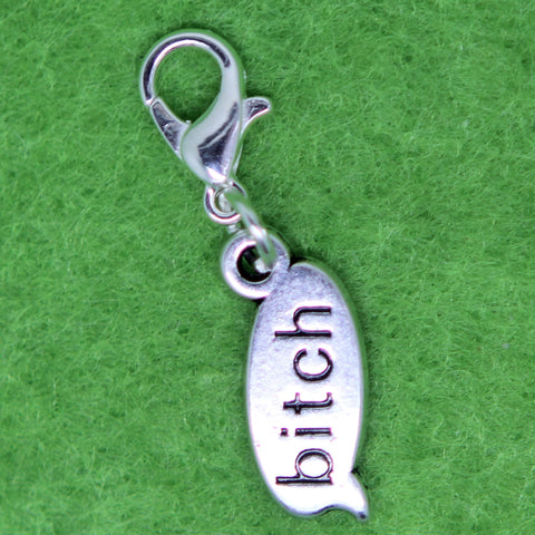 Bitch old plated Charm Clip on Bead for Charm Bracelets Charms necklace floating charms - Pendants and Charms
