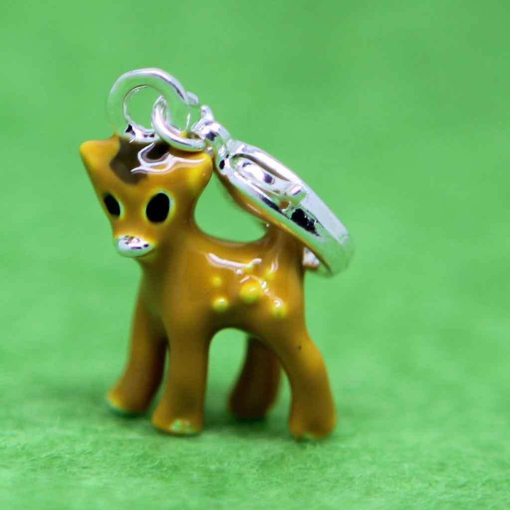Deer Calf Bambii Silver Plated  Clip on Bead for Charm Bracelets Charms necklace - Pendants and Charms