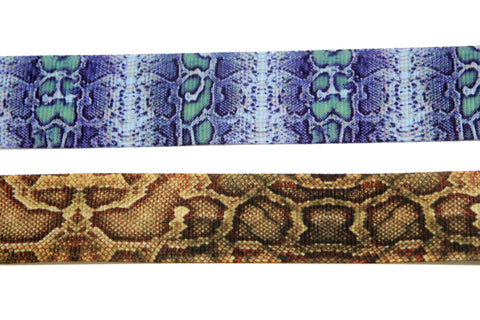 2 pieces set 22mm wide snake print blue and brown Rockabilly gothic victorian style plain choker - Pendants and Charms