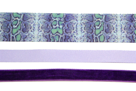 3 pieces set 22mm wide snake print ribbon blue choker purple velvet and lilac Rockabilly gothic victorian style plain choker - Pendants and Charms