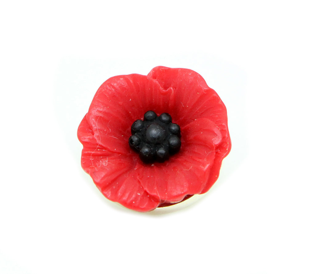 Floral Collection Small Handmade Red Poppy Flower Brooch Pin - Pendants and Charms