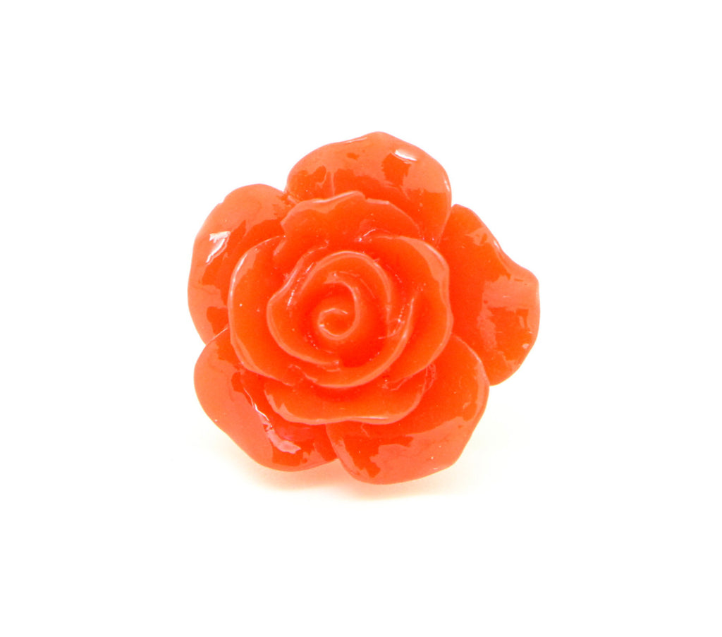 Floral Collection Small Handmade Red Rose Flower Brooch Pin - Pendants and Charms