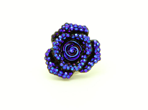 Floral Collection Small Handmade Blue Rose Flower Brooch Pin - Pendants and Charms