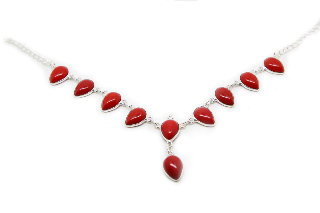 Red Coral Moonga chain Necklace - Pendants and Charms