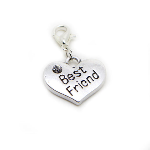 Best Friend Heart Silver tone clip on Bead for European Bracelet Charm Bracelets Charms pendants - Pendants and Charms