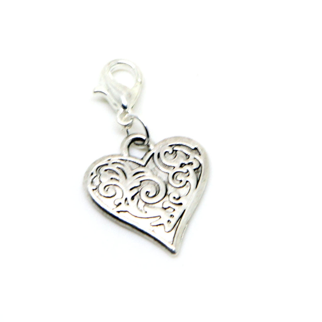 Heart Silver tone clip on Bead for European Bracelet Charm Bracelets Charms pendants - Pendants and Charms