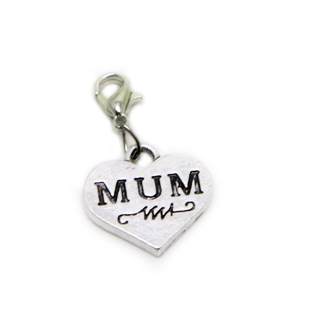 Mum Mom Mother Heart Silver tone clip on  charm pendant  bead - Pendants and Charms