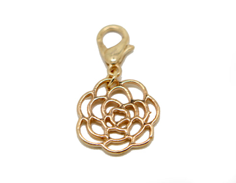 Filigree rose flower gold clip on Bead for Charm Bracelets Charms necklace - Pendants and Charms