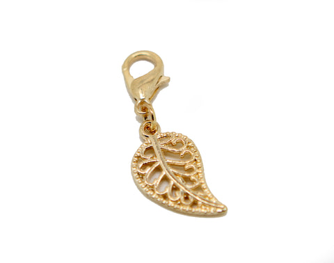 Filigree leaf gold clip on Bead for Charm Bracelets Charms necklace - Pendants and Charms