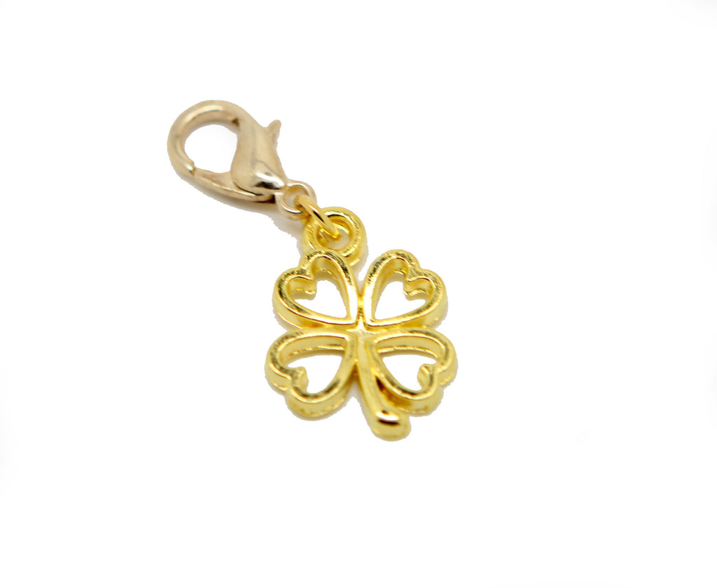 Lucky clover gold clip on Bead for Charm Bracelets Charms necklace - Pendants and Charms