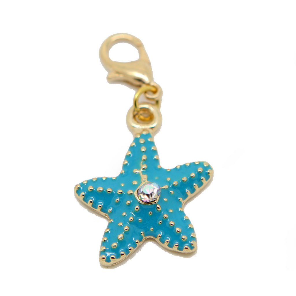 Blue starfish star enamel and gold clip on Bead for Charm Bracelets Charms necklace - Pendants and Charms