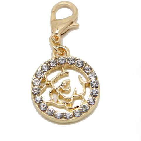 Filigree flower crystal gold clip on Bead for Charm Bracelets Charms necklace - Pendants and Charms