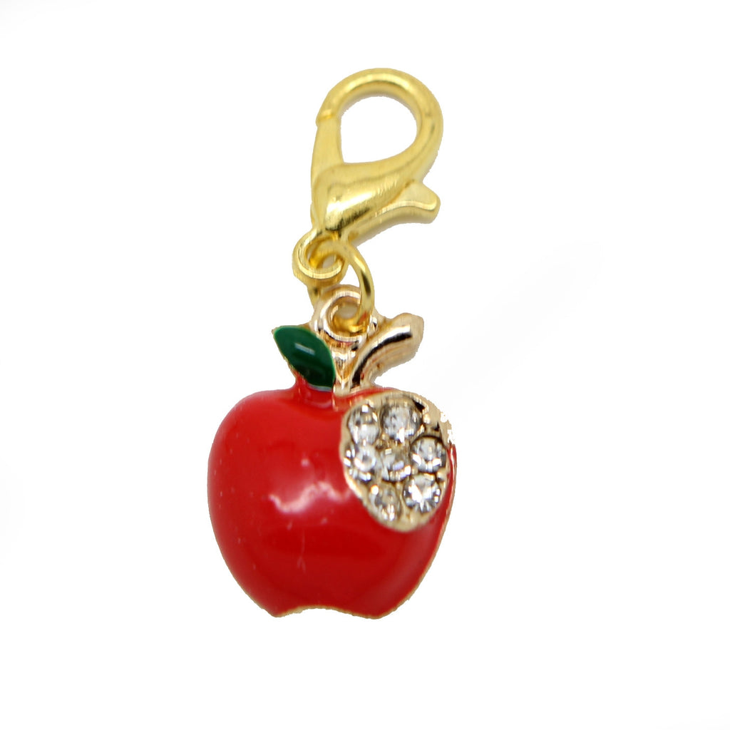 Red Apple gold clip on Bead for Charm Bracelets Charms necklace - Pendants and Charms