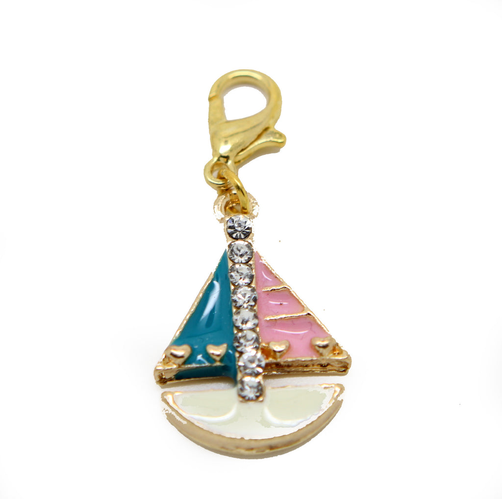 Rhinestone Yacht boat gold clip on Bead for Charm Bracelets Charms necklace - Pendants and Charms