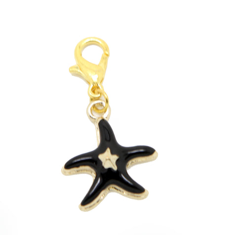 Black starfish star enamel and gold clip on Bead for Charm Bracelets Charms necklace - Pendants and Charms