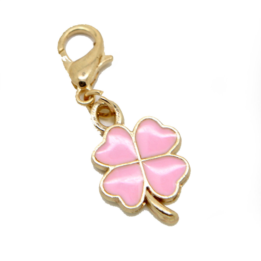 Pink enamel and gold Clover flower clip on Bead for Charm Bracelets Charms necklace - Pendants and Charms