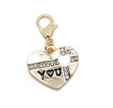 Gold tone crystal heart I love You clip on Bead for   Charm Bracelets Charms necklace - Pendants and Charms