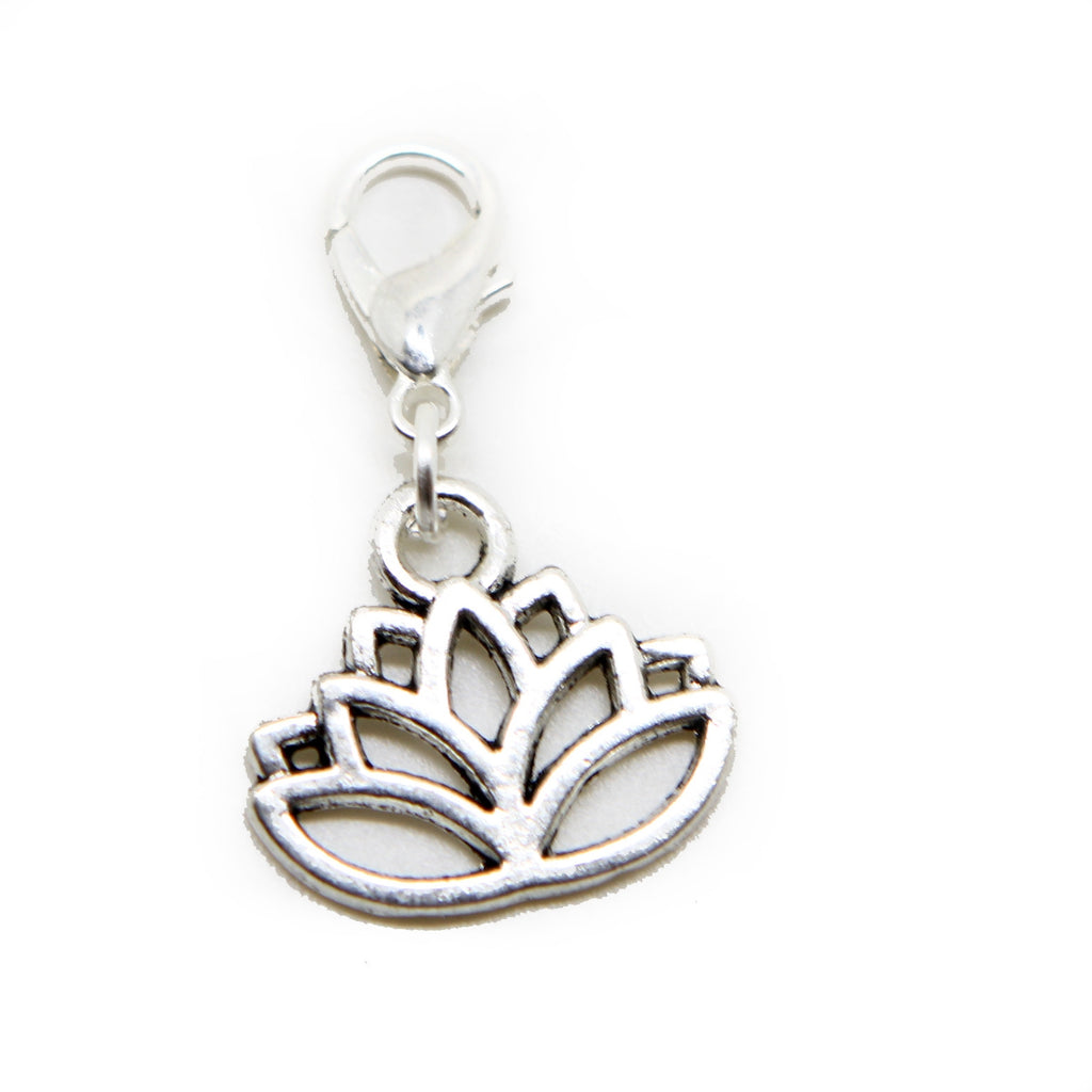 Silver tone lotus flower filigree clip on Bead for European Bracelet Charm Bracelets  pendants - Pendants and Charms