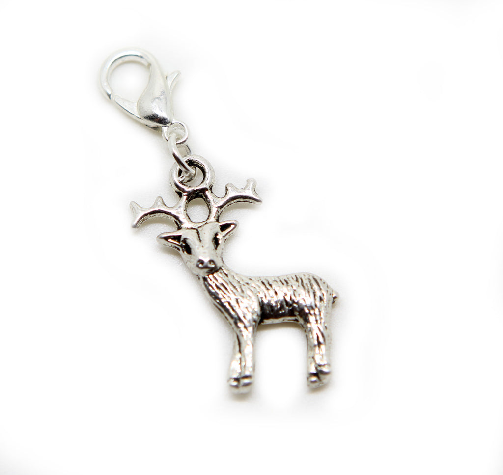 Silver tone reindeer Christmas animal clip on Bead  charm pendant  bead - Pendants and Charms