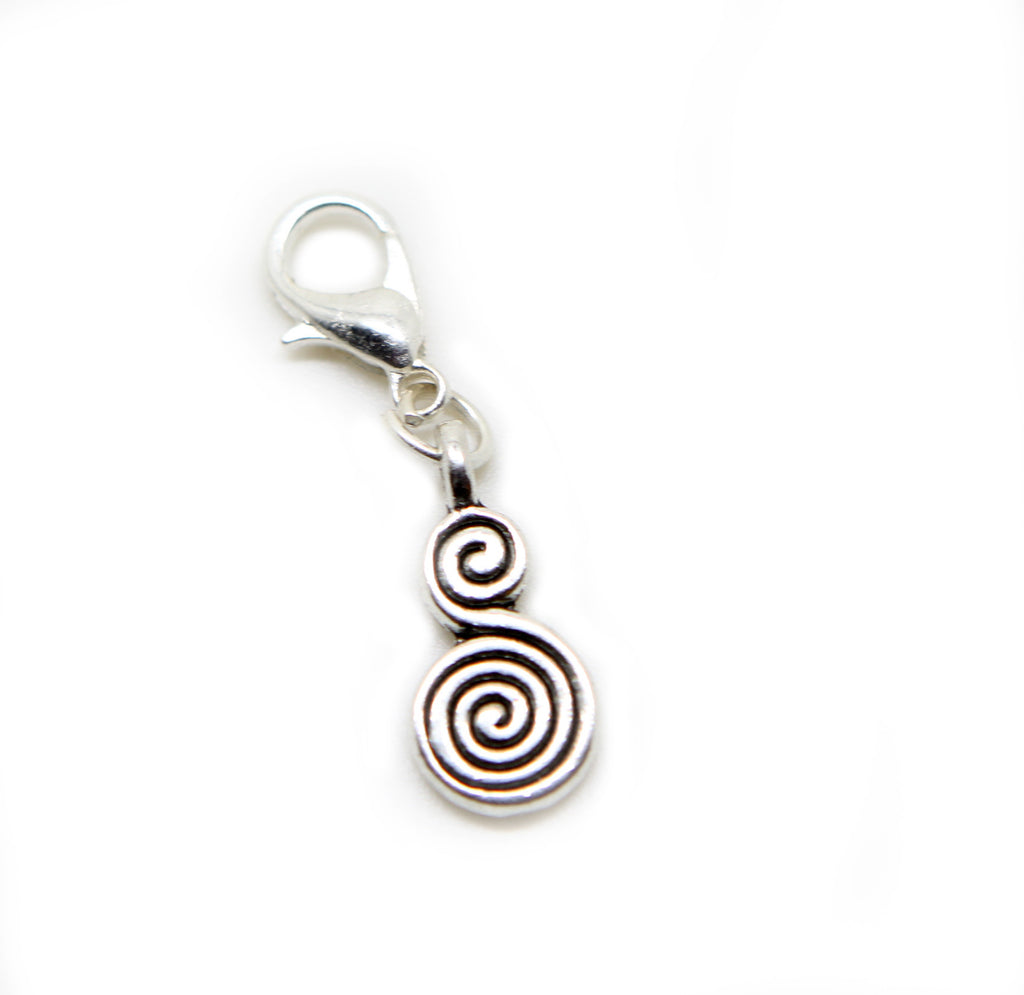 Swirl circles Silver tone clip on Bead  charm pendant  bead - Pendants and Charms