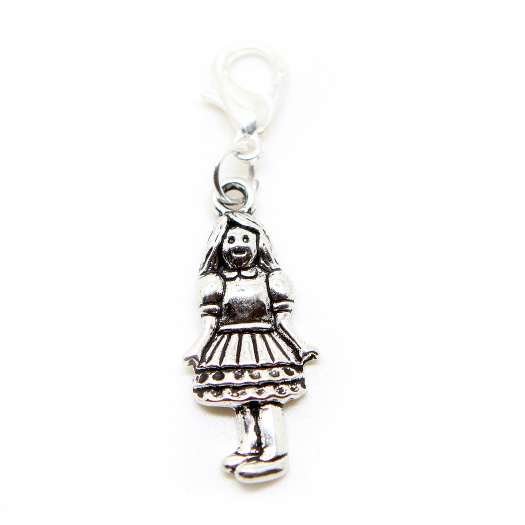 Girl doll  Silver tone clip on charms for European Bracelet and necklace - Pendants and Charms