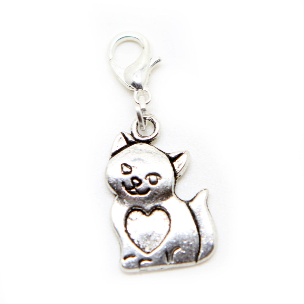 Cat animal Silver tone clip on charms for European Bracelet and necklace - Pendants and Charms